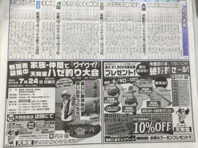 本日6月9日、中日スポーツ釣り欄をチェック!!!